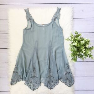 Free People Blue Sheer Beaded Tank Top XS #526